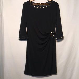 Tahari Black Studded Dress Size 12 Like New